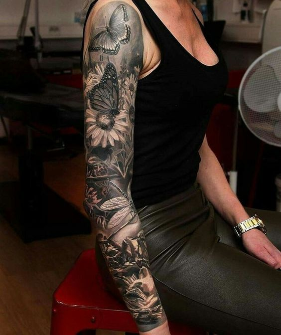 black and grey full sleeve tattoo ideas for women