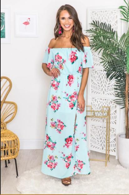 floral print spring beach maxi 2019