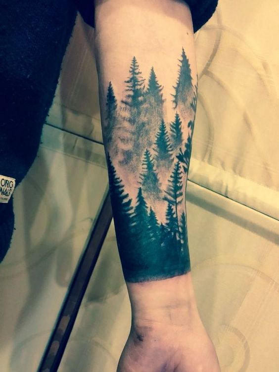 forest inked tattoo on arm for men