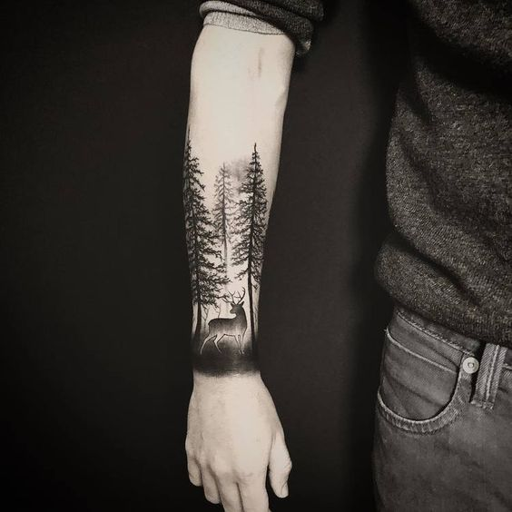 forest tattoo pattern for men arm
