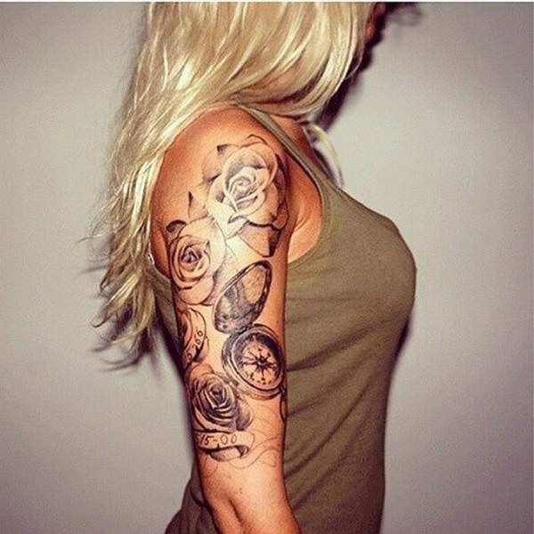 girl half sleeve roses and clock tattoo