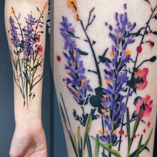 watercolor wildflower tattoo design on forearm