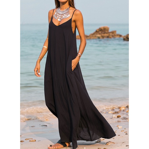 a-line sleeveless cotton maxi dress