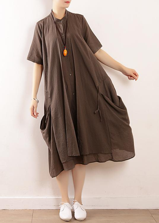 long gray cotton summer dress ideas for women