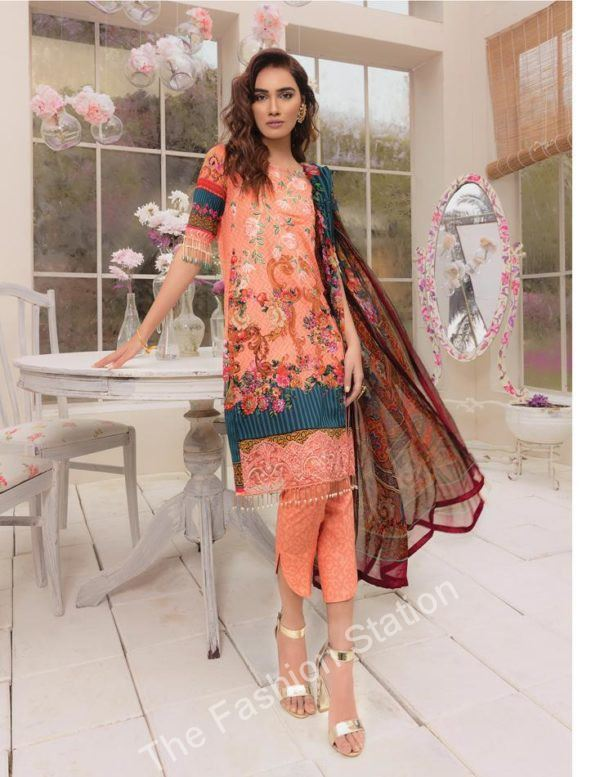 Gulaal peach color lawn 2019