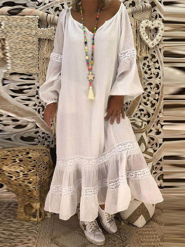 long sleeves lace loose cotton maxi dress