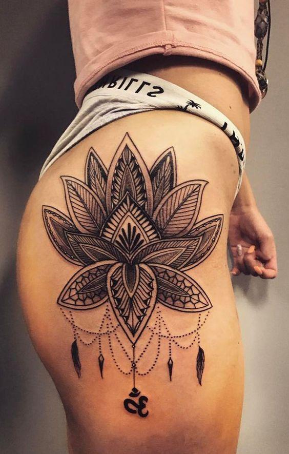mandala lotus flower tattoo design