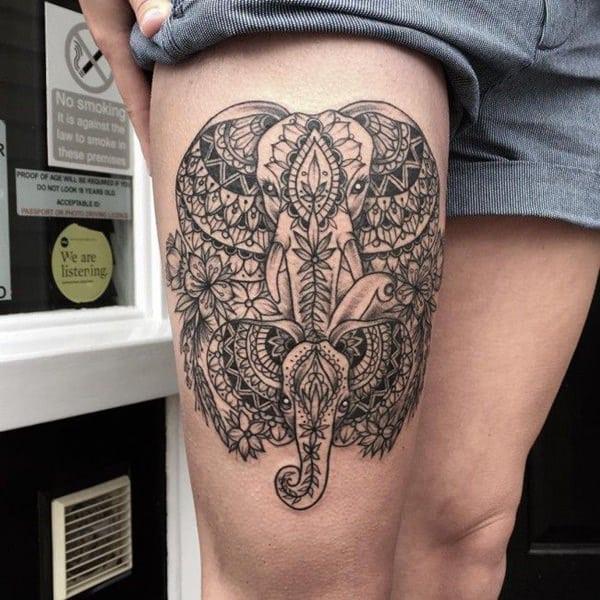 mandala elephants tattoo design
