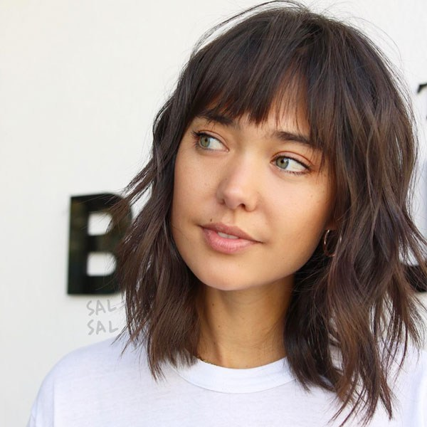 medium length layered bangs haircut