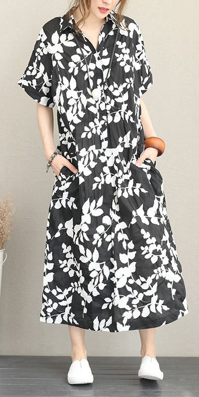summer black floral maxi cotton dress for women