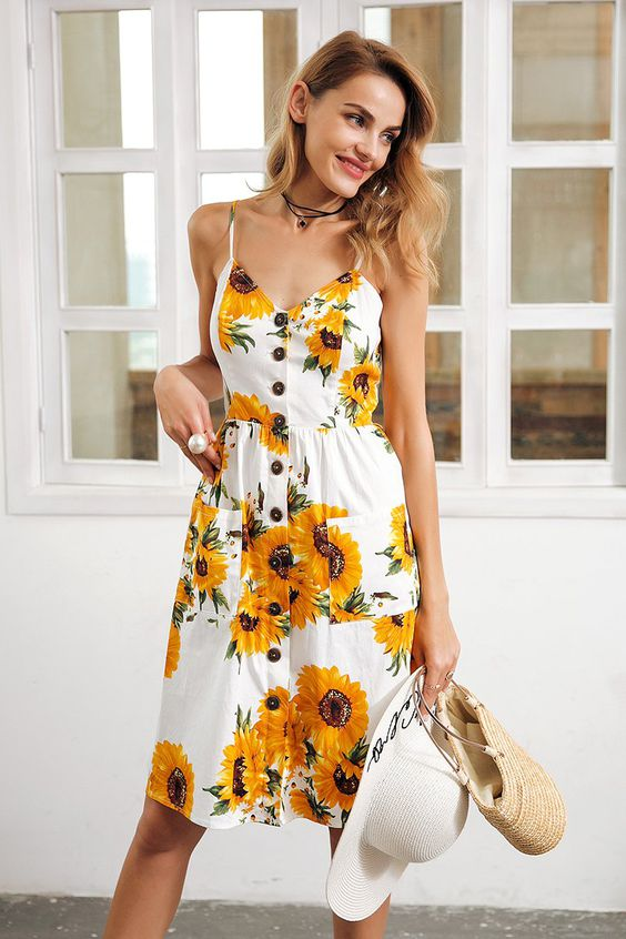sunflower print strap v-neck cotton dress