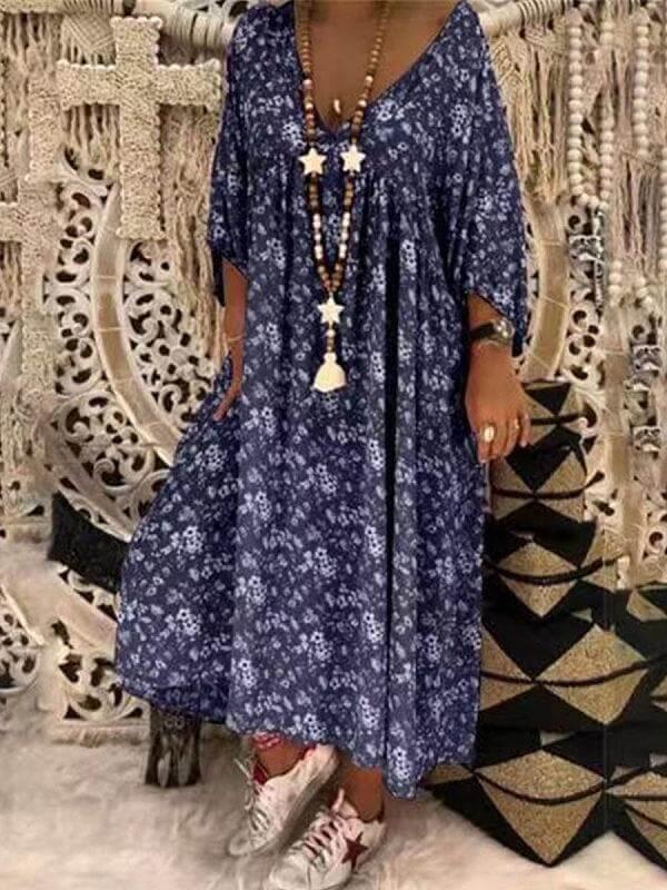 v neck printed loose half sleeve cotton maxi dress