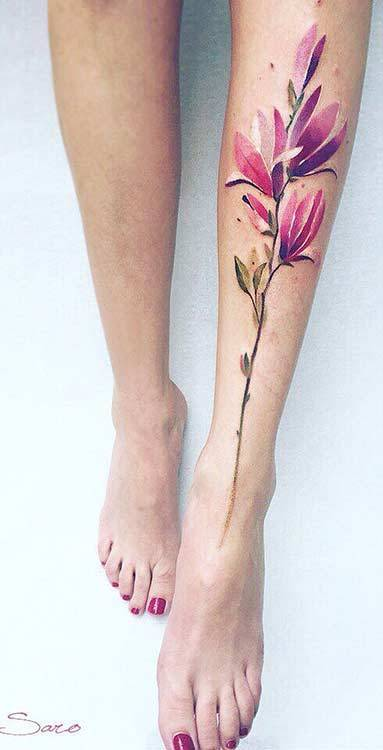 flower tattoo ideas on leg