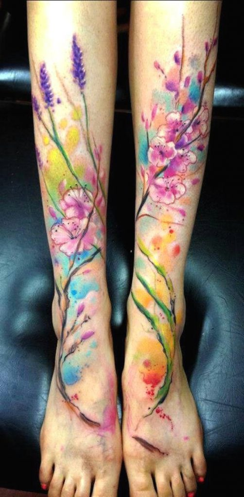 watercolor tattoos on leg