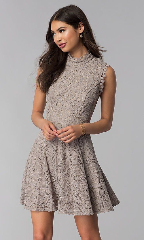 high neck lace taupe midi dress ideas for wedding guest