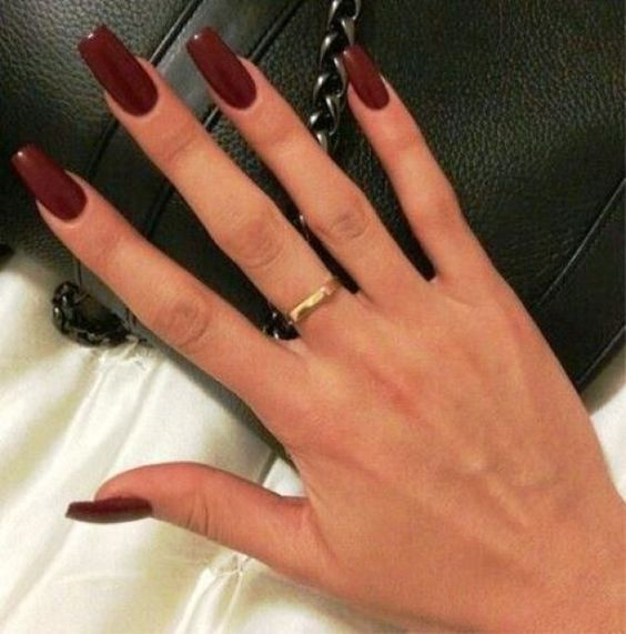 Burgundy Coffin Acrylic Nails