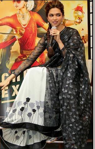Deepika Padukone Black and White Saree