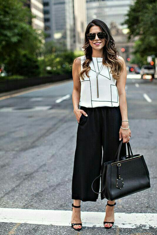 black culottes with top