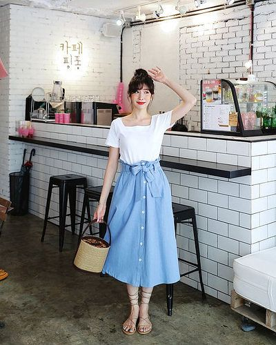 casual midi skirt outfit ideas for women