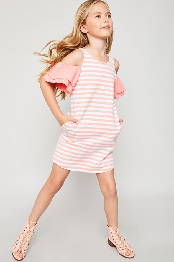 cold shoulder stripped dress for girls