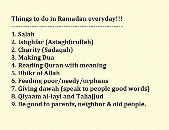 list of good deeds in Ramadan
