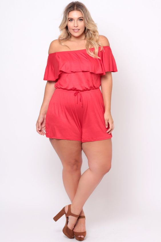 plus size off the shoulder ruffle romper