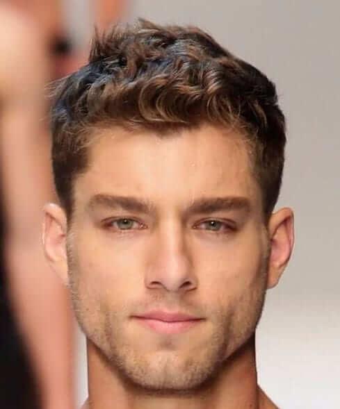 short fringe culry haircut for men