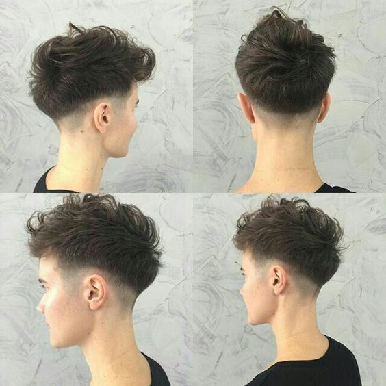 teenage boy wavy two block haircut fade