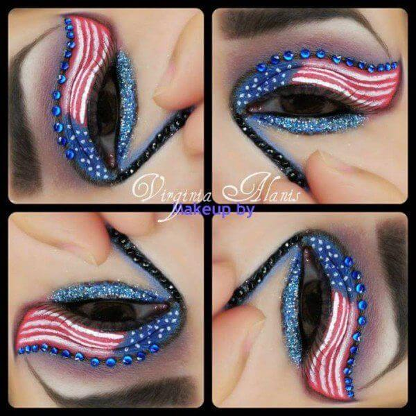 4th of july american flag eye makeup