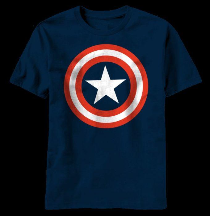 80s classic marvel hero captain america shield t-shirts