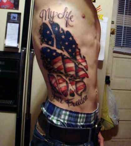 american flag tattoo design with quote on side for men