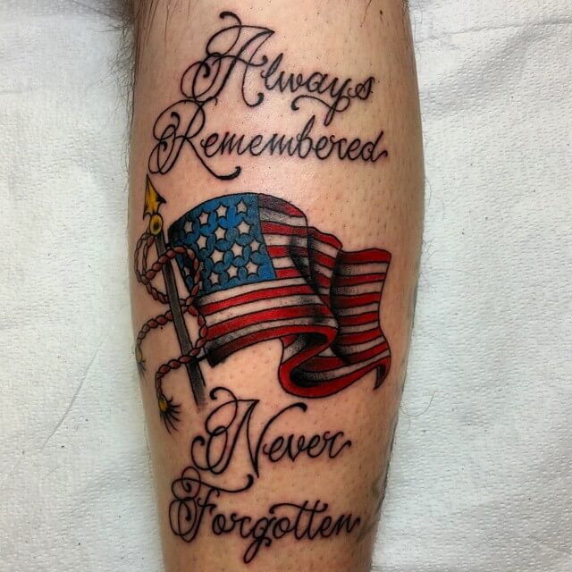american flag with quote tattoo design