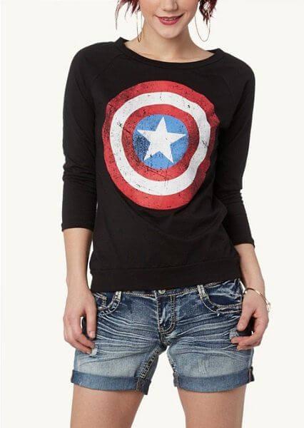 full sleeve captain america shield t-shirt ideas for women