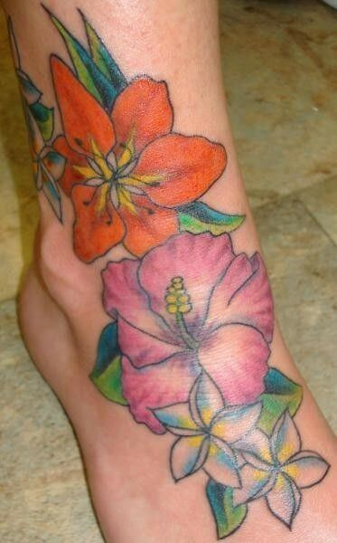 hibiscus and plumeria hawaiian flowers tattoo designs on foot