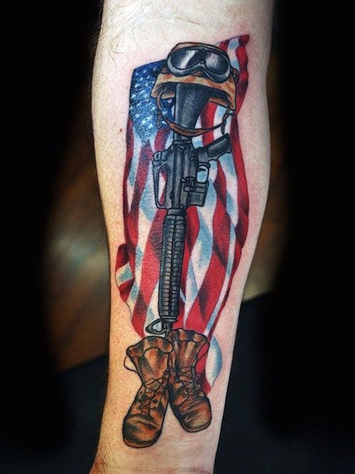 american flag tattoo design for military