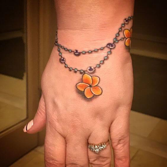 plumeria flower bracelet tattoo design