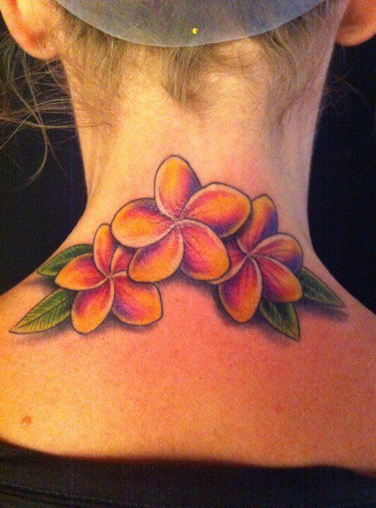 plumeria flowers tattoo on back neck