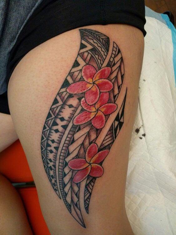 samoan with plumeria flower tattoo design on thigh