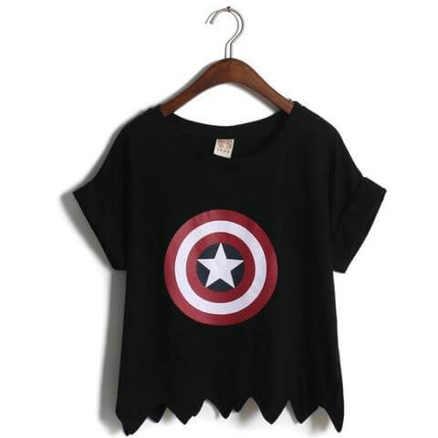 summer style cropped pattern captain america shield t-shirts