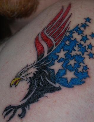 tribal eagle american flag tattoo design