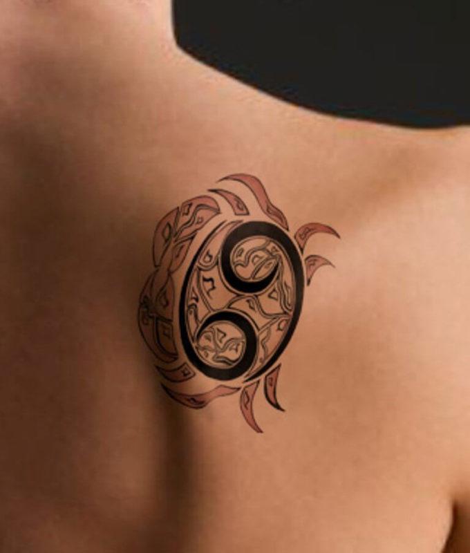 cancer zodiac sign 69 crab tattoo design on shoulder blade