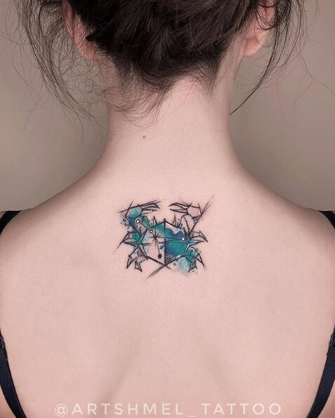 geometric cancer crab zodiac sign tattoo design on back for girls