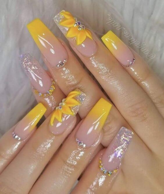 nude acrylic coffin yellow nails with sunflowers for summer