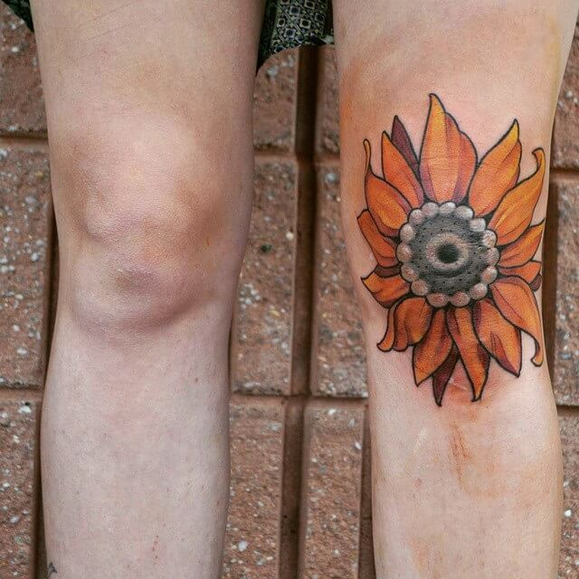 sunflower tattoo design on knee cap