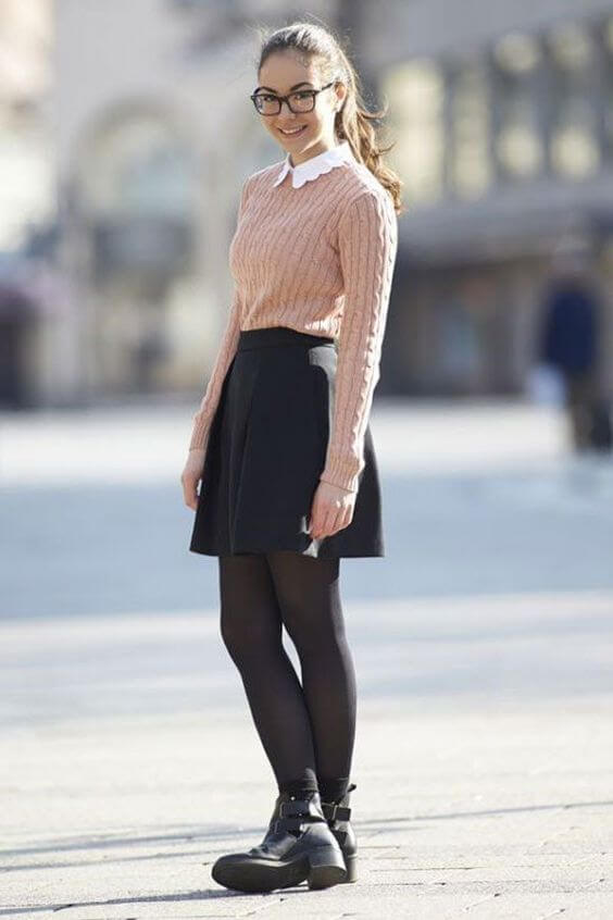 back to school sweater skirt outfit ideas