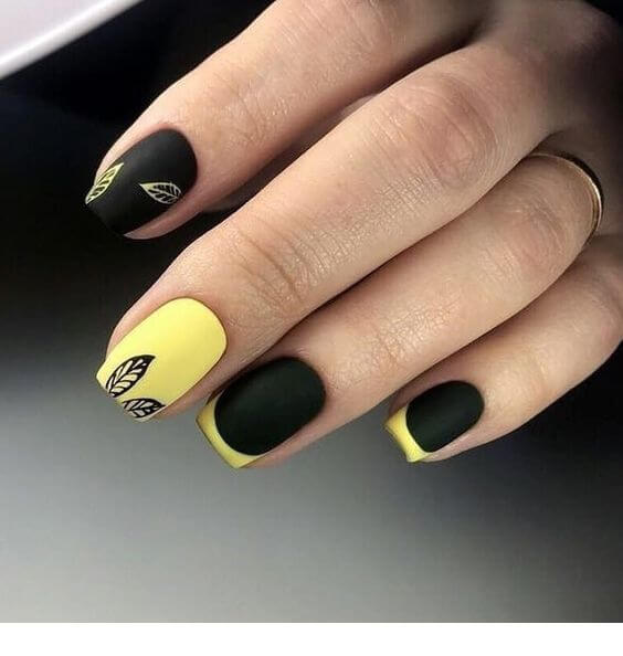 black and yellow nails for summer
