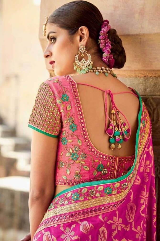 blouse back designs with dori