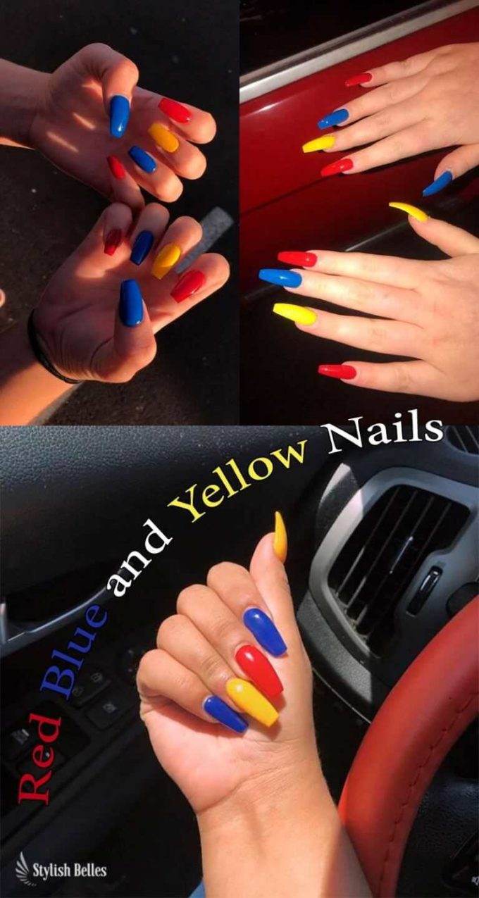 blue yellow red coffin nail art