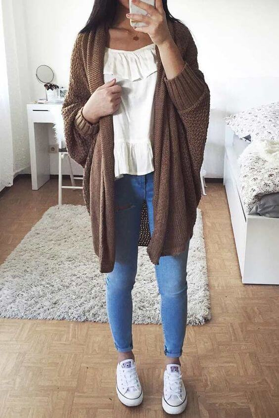 casual oversized cardigan sweater outfits for school