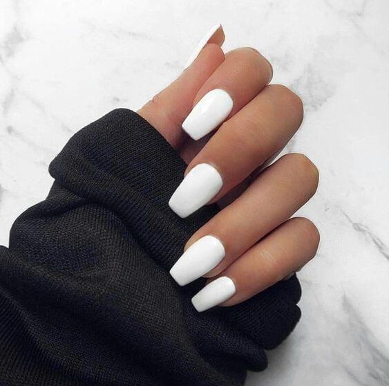 coffin short white acrylic nails